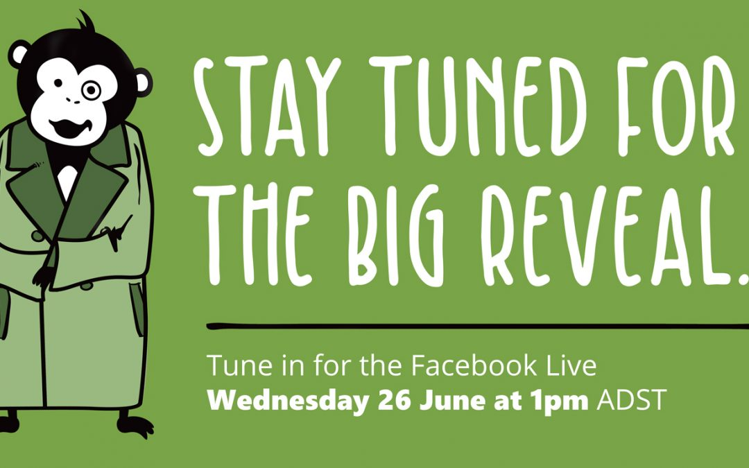 This photo is of an animated monkey in a trench coat. it reads stay tuned for the big reveal 26th June 1pm ADST for the freelance jungle website
