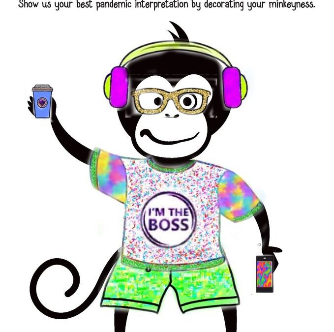 Freelance art was supplied during the care package drop from the Patreon. This has been turned into a coloureful monkey wearing set of headphones and their best freelance attire.