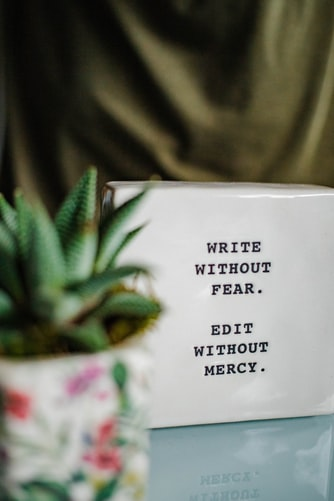 cube reads write without fear. edit without mercy. it sits on a table or bench next to s potted succulent.