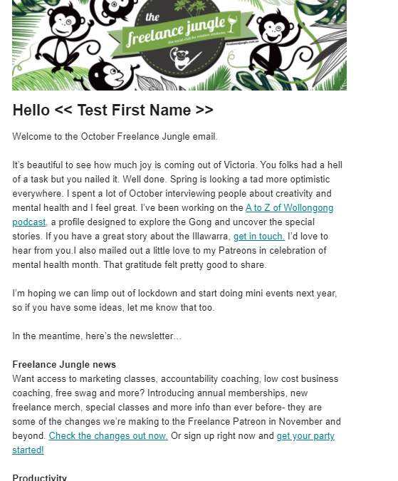 A snap shot of the october freelance jungle monthly email that is aboutfreelance newsletters