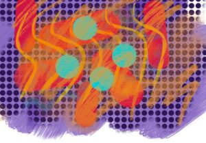 A spotted artwork features orange wavy lines over the top and smooshes of colour