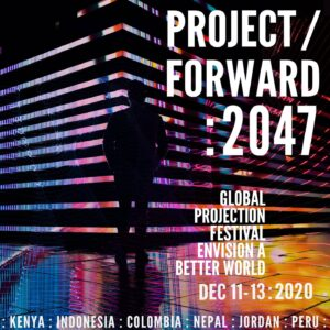 Poster for Project Forward 2047 shows a building corner square with a shadowed figure in front of it. The floor is multicoloured