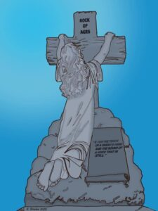 An illustrated figure leans on a cross shaped tombstone