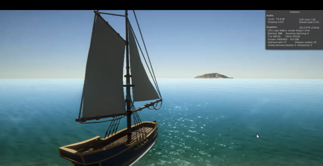 A screen of a virual reality sail boar skims across wide blue ocean. Sail Away is an experiment in learning new freelance techniques by Tim Hanslow