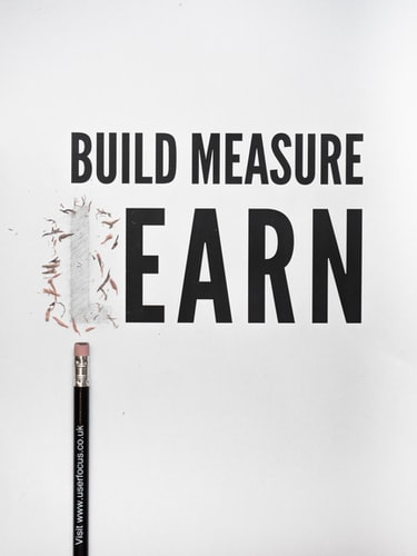 Block letters build measure and learn with a L erased by a pencil with the remains visible to denote earn after learning how to freelance better.