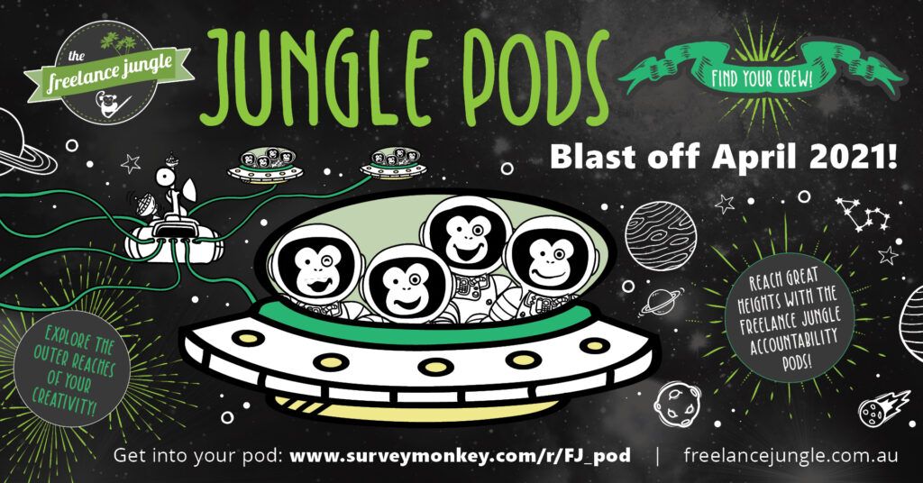 An illustration by Jessica Harkins shows for monkeys in a special spaceship with a bunch of space suits on. It shows Jungle pods the accountability pods for the Freelance Jungle in space