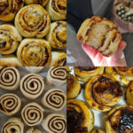A photo montage of baked and unbaked vegemite and cheese scrolls and cinnamon scrolls.