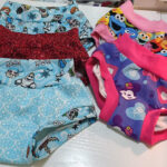 Handmade kids underwear in a variety of colourful fabrics.