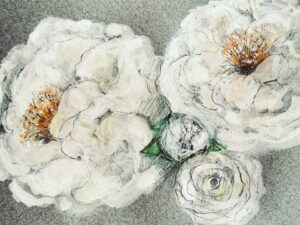 A watercoour painting of white roses on tinted watercolour pape