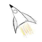 A rocket ship hand drawn on an ipad blasts off.