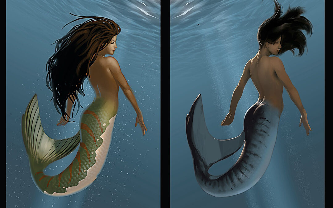 Image: A side by side comparison of a mermaid in an underwater setting. The mermaid is swimming calmly in a serene setting. Sunrays and ripples are in the background.