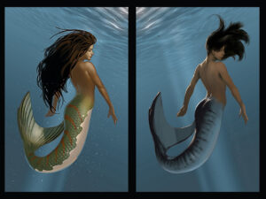 Diptych illustration of two mermaids floating upright with their backs turned to us. On the left, the mermaid has flowing dark hair and a green tail with orange stripes floats. On the right is a mermaid with a blue tail.
