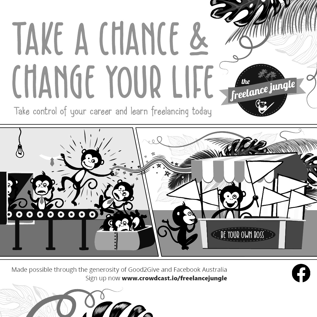 reinvent your working life redundancy art featuring minkeys that are finding joy at the freelance festival